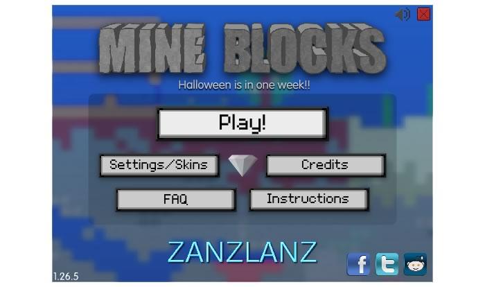Стартовый экран Mine Blocks
