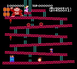 Donkey Long NES скриншот первой игры с Марио